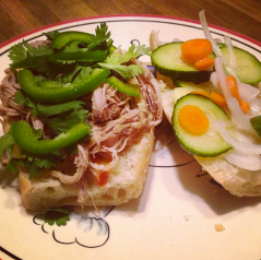 Thai slow cooked pork, jalapeños, pickled carrots/onions/cucumbers, & Sriracha. Best sandwich ever.