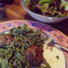 Fresh spinach pasta w/homemade pesto & meatballs plus salad.